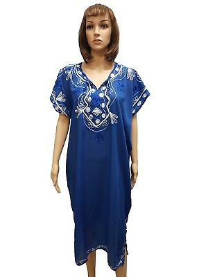 MOROCCAN WOMEN COTTON BEACH SUMMER Dress Kaftan Caftan Arabic Abaya Jelaba BLUE