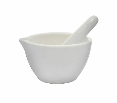 "Small Porcelain Mortar & Pestle, thick walled, Outer dia 80mm (3.15"") Textured"