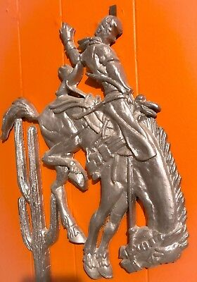 Old Large Cast Iron Gate Fence Topper Ornament BRONC HORSE WESTERN COWBOY RODEO
