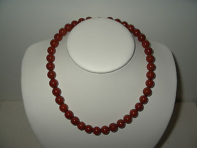 Vintage Rust Salmon Beads & Black Veining Natural Stone (Agate)? Necklace Choker