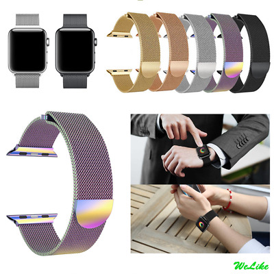 For Apple Watch Series 3 2 1 Magnetic Milanese Stainless Wrist Band Strap 38/42
