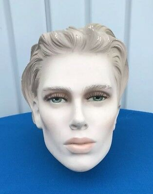 ART DECO  Porcelain French Lady / Man Mannequin Head Beautiful with lashes  Rare