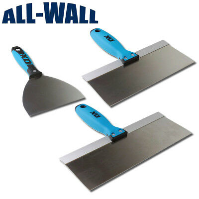 "Ox Tools Stainless Steel Drywall Taping Knife Set 6""-10""-12"" w/Bucket Mud Scoop"