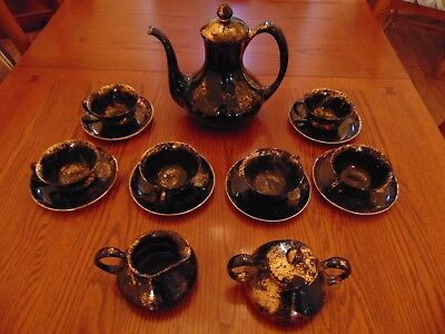 Sascha Brastoff Surf Ballet Black & Gold Large Tea Coffee Pot Service For 6