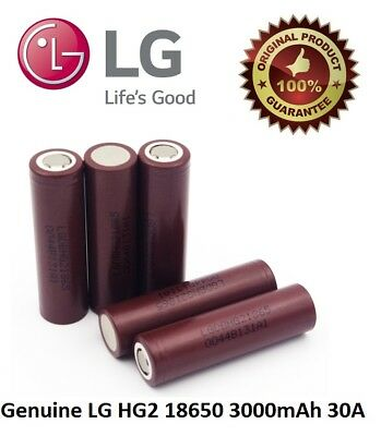 100% GENUINE LG HG2 18650 Lithium 3000mAh 30A 3.7v Li-ion Battery Vape