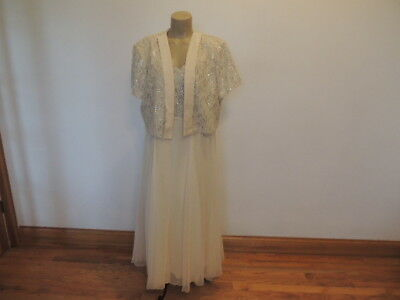 Another Thyme size 20 woman ivory 2 pc dress & bolero jacket formal dress