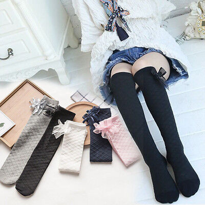 Girls Kids Teenage Children Knee High No Heels with bow School Socks 3 -10 years