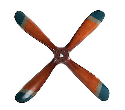 """Small 4 Blade Wooden Propeller 28"""" Airplane Aviation Wall Mount Hanging Decor"""