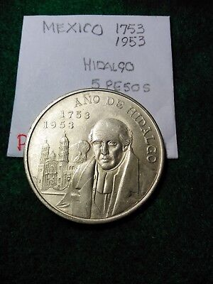 Mexico 1953 Silver 5 Pesos. Year Of Hidalgo.