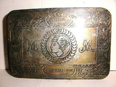 Rare 1914 WWI antique English Princess Mary silver plated box gift to officer