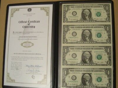 US Uncut Sheets of $1 Bills Certificate of Ownership US Government Issued