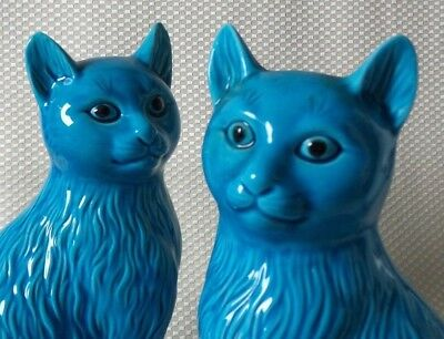 Beautiful Pair of Vintage Blue Glazed Chinese Porcelain Cat Figurines - Signed