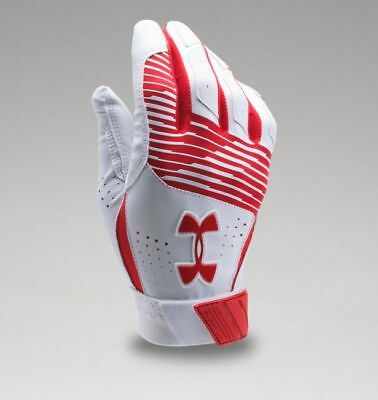 Under Armour Men's UA Clean Up Baseball Batting Gloves 1299530-600 RED/WHT/RED