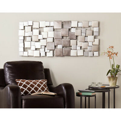LARGE METAL SCULPTURE Abstract Modern Silver Wall Art Contemporary ...