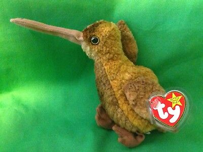 Ty Beanie Baby - BEAK the Kiwi Bird - 1998 PE Pellets RETIRED MWMT Tag Protected