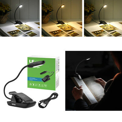 Flexible Portable Travel Book Reading Light Clip on Lamp 3 Color Temperature USB