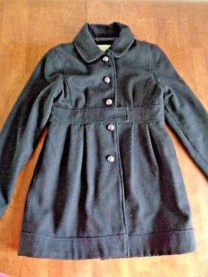 ARIZONA Girls Size 16 XL Black Pea Coat Waist/Pleated Accent Button Front Lined
