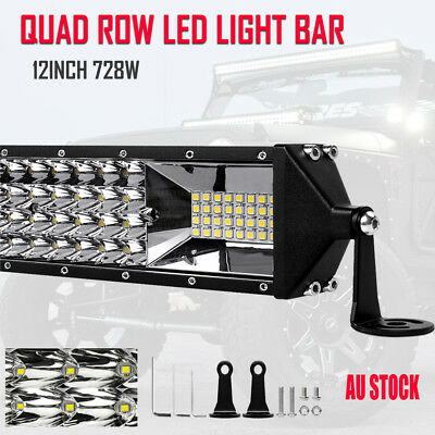 4 Row 12inch 410W  Led Work Light Bar Spot Flood Fog Boat Driving Offroad Truck