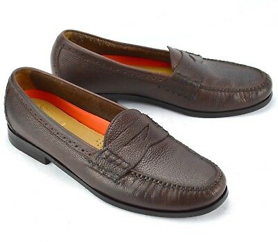 8b2096dd230 Cole Haan Mens Hand Sewn Pinch Grand OS Brown Leather Slip On Penny Loafers  11M