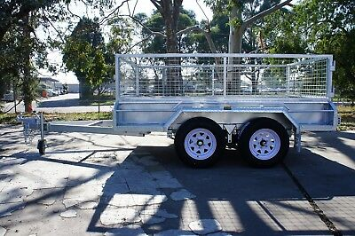 10x5 HOTDIP GALVANISED FULL WELDED HEAVY DUTY TANDEM TRAILER   WITH 600MM CAGE