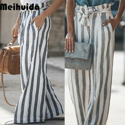 Women's OL Office Loose Stretch High Waist Wide Leg Long Pants Palazzo US STOCK