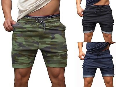MENS SHORTS tapered leg SLIM CUFF bodybuilding GYM Track plain Casual CAMO ARMY
