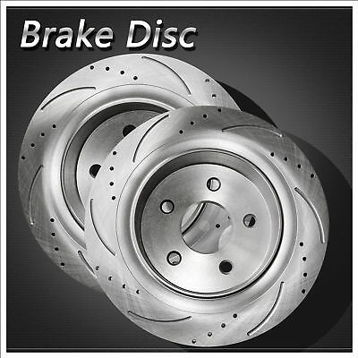 2pcs Rear L&R Drilled Slotted Vented Disc Brake Rotors For Chrysler Dodge 1500