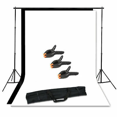 2mx2m Photography Studio Stand 3 Clamps Muslin Cotton Black White Backdrop Video