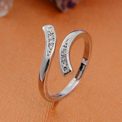 1x925 Silver Plated Rings Finger Band Adjustable Ring Hot Sale Women's Jewelry
