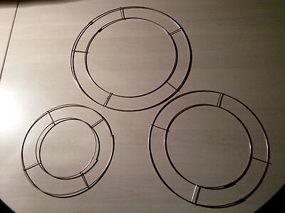"""8"""" 10"""" 12"""" Wire Copper Round Rings Frame Wreath Holly Flower Funeral Wedding"""