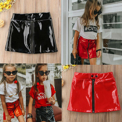 US Stock  Baby kids Toddler Girls Outfit Sequins Leather Skirt Dress Clothes Set