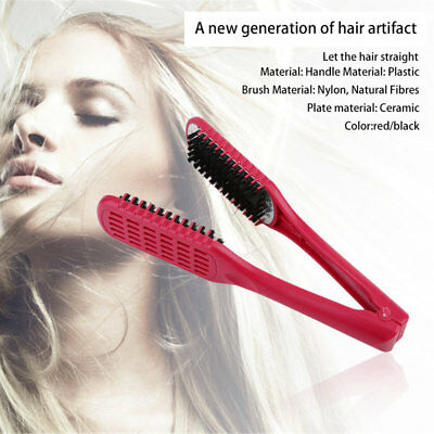Hairdressing Ceramic Styling Clamp Straightening Hair Double Brush Salon Tool GT