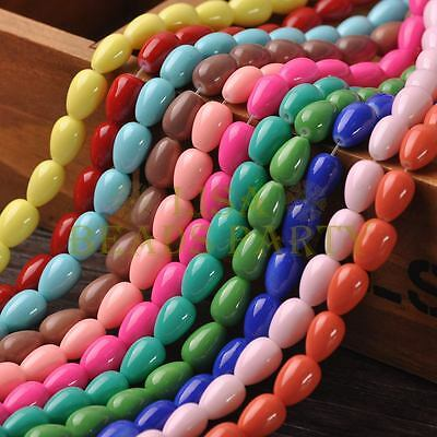 New Arrival 20pcs 11X8mm Teardrop Shape Loose Spacer Glass Beads Mixed Color
