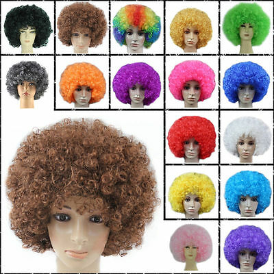 Disco Rainbow Afro Clown Hair Football Adult Child Costume Curly Wig For Party