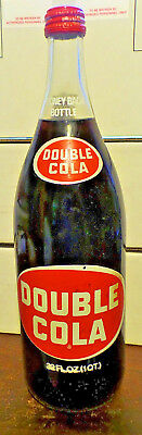 Vintage DOUBLE COLA Glass RETURN DEPOSIT Bottle 1 Quart Original Cap FULL&SEALED