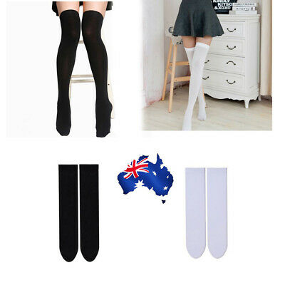 Solid Socks Sexy Women Girl Thigh High Over the Knee Stretch Socks AU