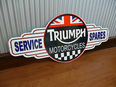Triumph motorcycles service spares metal tin sign bar garage motorbike