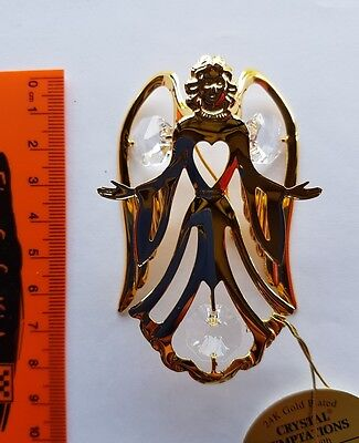Angel Suncatcher Swarovski Clear Crystal, gold plated BNIB