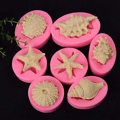 Silicone 3D Starfish&Sea Shells Mould Fondant Cake Chocolate Molds Decor Tool q