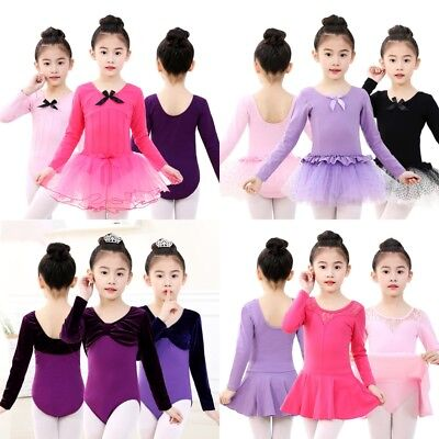 Girls Ballet Leotards Dancewear Kids Long Sleeve Bow Tie Gymnastics Bodysuits AU
