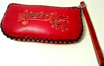 Vintage Hand Made Embossd Leather Red MUSICAL Note Piano Coin Purse Wristlet 6x3