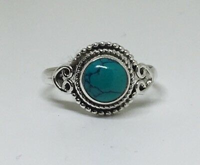 Classic 925 Sterling Silver Ladies Turquoise Round Stone Ring, Various Sizes