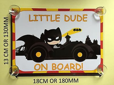 Child Dressed As Batman In Car Little Dude On Board Car Laminated Sign
