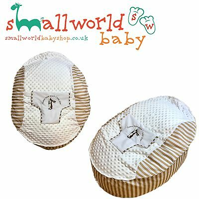 Personalised Boys Girls Cream/Beige Stripe Pre Filled Baby Bean Bag