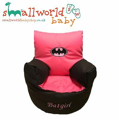 Childrens Kids Pre Filled Personalised Bean Bag Chair Seat Girls Batman