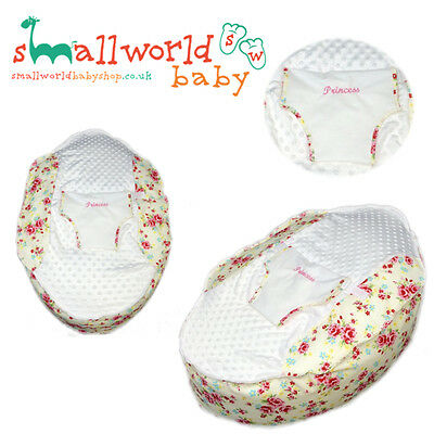 Personalised Girls Cream And Scone Floral Pre Filled Baby Bean Bag