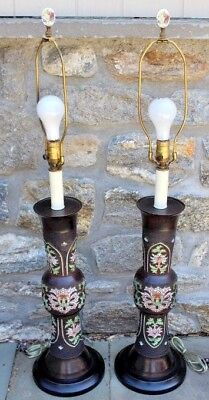 """Antique Pair of Japanese Champleve Vases / Lamps ~ 40"""" Tall"""