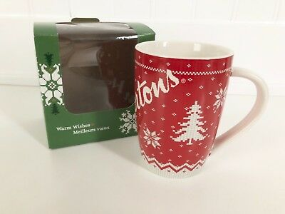 TIM HORTON'S Sweater Knit Winter WARM WISHES Ceramic Mug Cup, 2015, BOXED