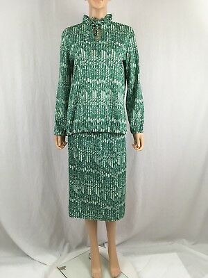 Vintage 1960s Two Piece Dress By NPC Fashions Green White All Over Print Sz 14