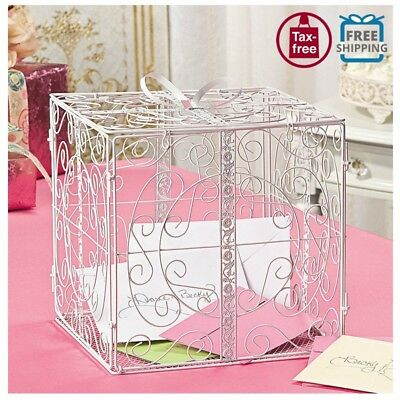 Wedding Metal Gift Box Bow Card Holder Wishing Well Reception Money